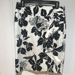 White House Black Market floral skirt with ruffle